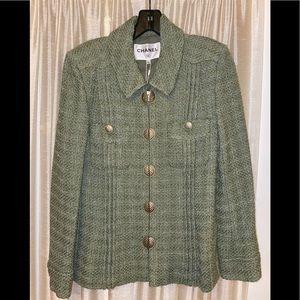 Chanel FANTASY green tweed blazer jacket
